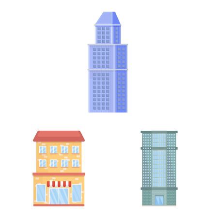 Isolated object of facade and building icon. Collection of facade and exterior vector icon for stock. Çizim