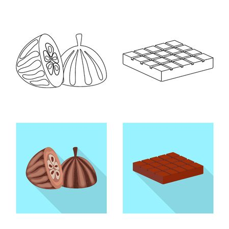 Isolated object of food and yummy icon. Set of food and brown vector icon for stock. Foto de archivo - 130456057