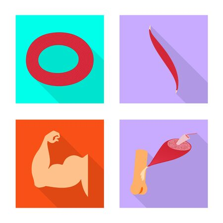Vector design of muscle and cells sign. Collection of muscle and anatomy stock symbol for web.