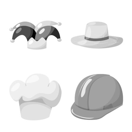 Vector illustration of hat and helmet icon. Set of hat and profession stock vector illustration.
