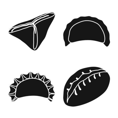 Isolated object of cuisine and appetizer symbol. Set of cuisine and food stock vector illustration.