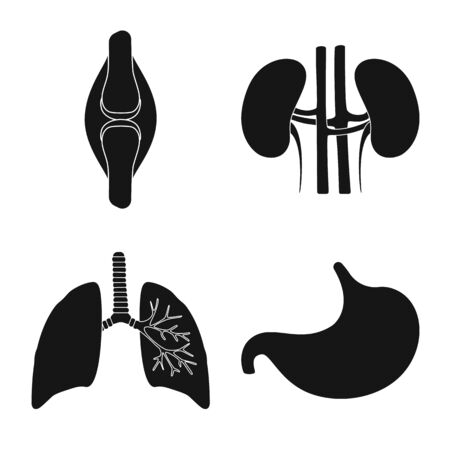 Vector design of research and laboratory sign. Set of research and organ stock vector illustration.