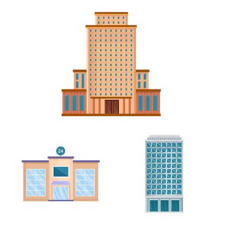 Vector design of facade and building icon. Collection of facade and exterior stock symbol for web.