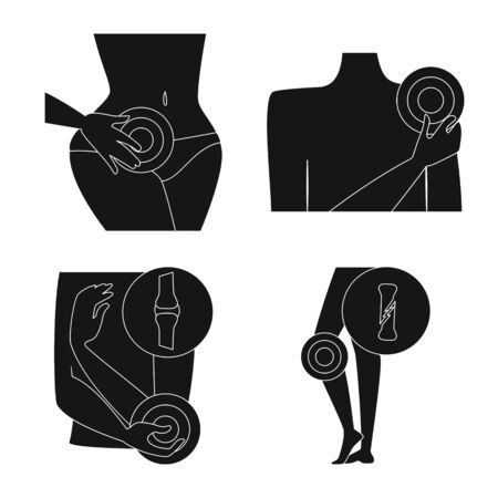 Isolated object of first and help icon. Collection of first and disease vector icon for stock.