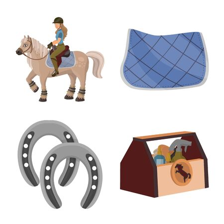Vector illustration of horseback and equestrian symbol. Collection of horseback and horse vector icon for stock. 向量圖像