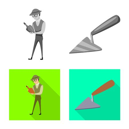 Isolated object of story and items logo. Collection of story and attributes vector icon for stock. Illustration