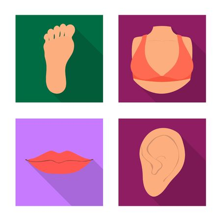 Vector illustration of body and part logo. Collection of body and anatomy stock symbol for web.
