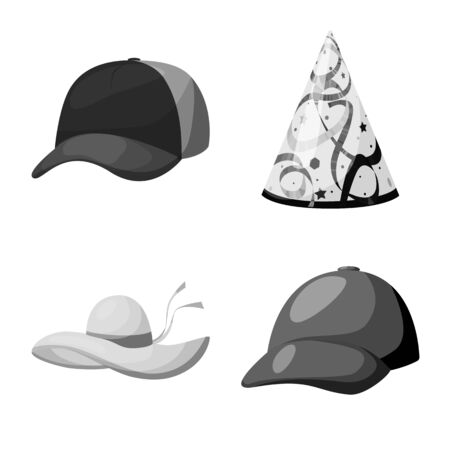 Vector design of hat and helmet symbol. Set of hat and profession stock vector illustration. 向量圖像