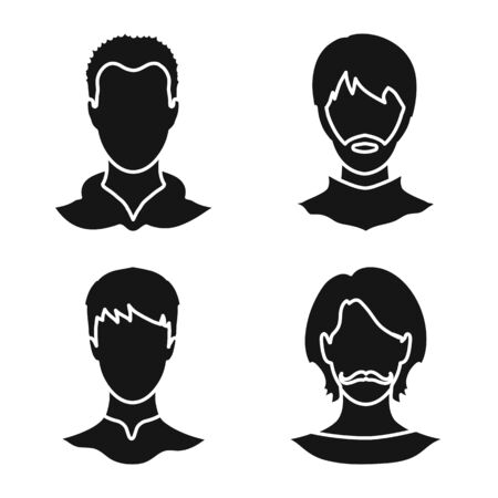 Isolated object of character and profile icon. Set of character and dummy stock symbol for web.  イラスト・ベクター素材