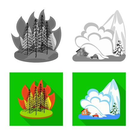 Vector illustration of weather and distress icon. Collection of weather and crash stock symbol for web.