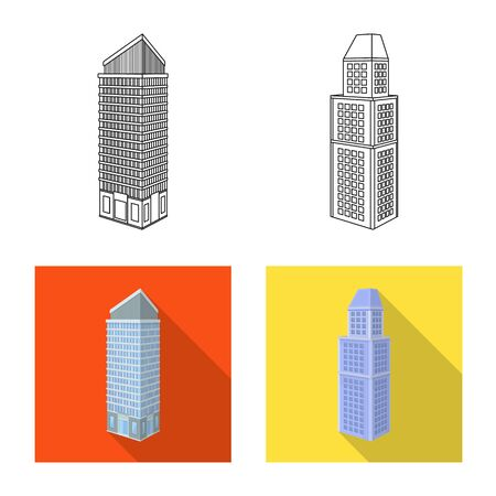 Isolated object of construction and building symbol. Set of construction and estate stock vector illustration.