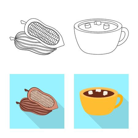 Isolated object of food and yummy icon. Set of food and brown stock vector illustration. Foto de archivo - 130515790
