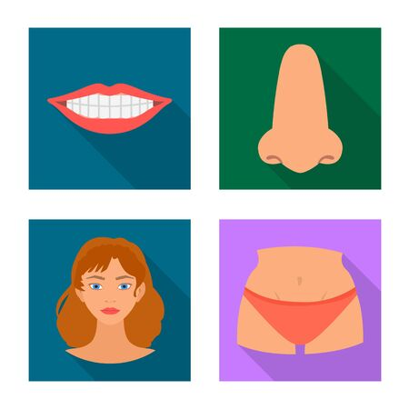 Isolated object of body and part logo. Collection of body and anatomy stock symbol for web. Иллюстрация