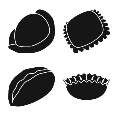 Vector design of cuisine and appetizer sign. Set of cuisine and food vector icon for stock.