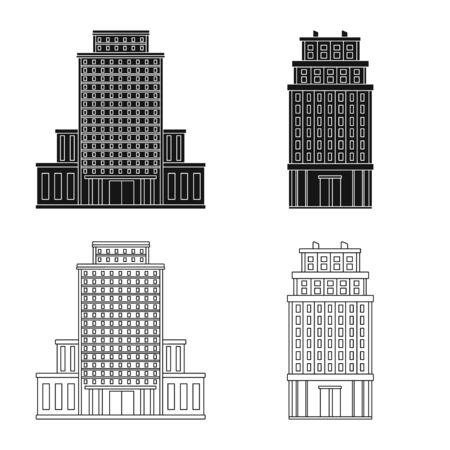 Vector illustration of municipal and center logo. Set of municipal and estate stock symbol for web. Çizim