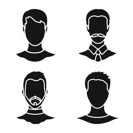 Vector illustration of character and profile icon. Set of character and dummy vector icon for stock.