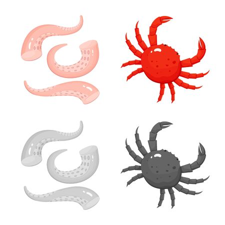 Isolated object of fresh and restaurant symbol. Collection of fresh and marine stock vector illustration. Иллюстрация