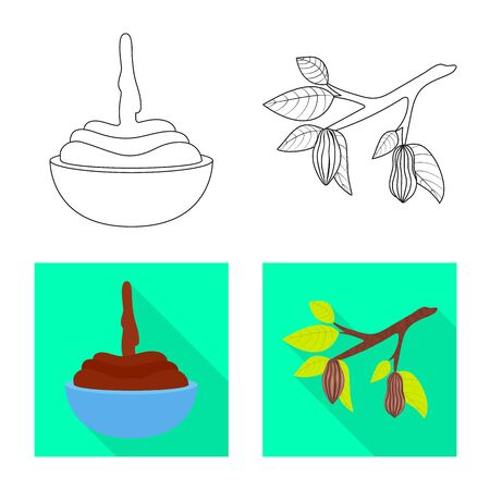 Isolated object of food and yummy sign. Set of food and brown vector icon for stock. Ilustração