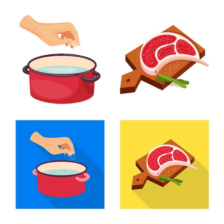 Vector design of cooking and sea sign. Set of cooking and baking vector icon for stock.