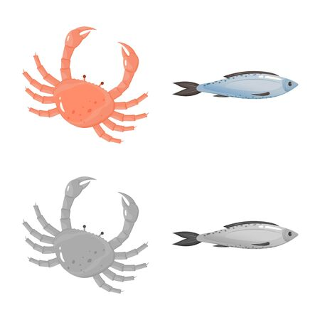 Vector illustration of fresh and restaurant logo. Set of fresh and marine vector icon for stock.