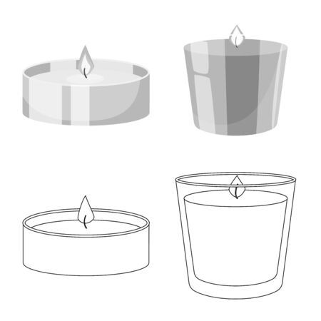 Vector design of relaxation and flame icon. Collection of relaxation and wax stock symbol for web. Ilustração