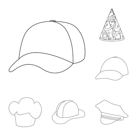 Vector design of headgear and napper icon. Set of headgear and helmet stock symbol for web. 向量圖像