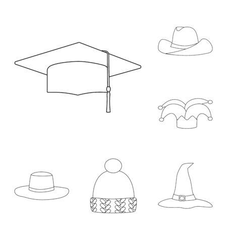 Vector design of headgear and napper logo. Set of headgear and helmet stock symbol for web.