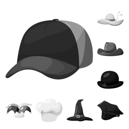 Isolated object of hat and helmet icon. Set of hat and profession stock symbol for web.