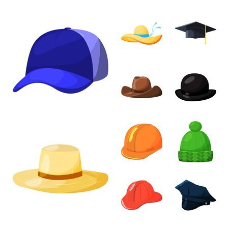 Vector illustration of headgear and napper icon. Collection of headgear and helmet vector icon for stock. 向量圖像
