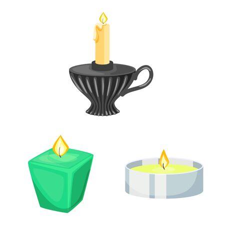 Vector illustration of light and wax icon. Collection of light and ceremony stock vector illustration. Ilustracja