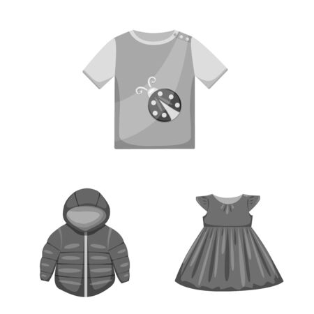 Isolated object of cloth and apparel symbol. Collection of cloth and garment vector icon for stock.