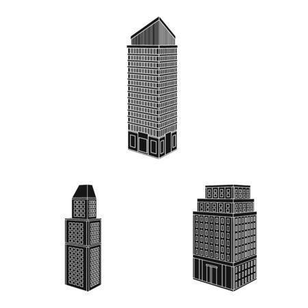 Vector design of architecture and estate symbol. Collection of architecture and build stock vector illustration. Çizim