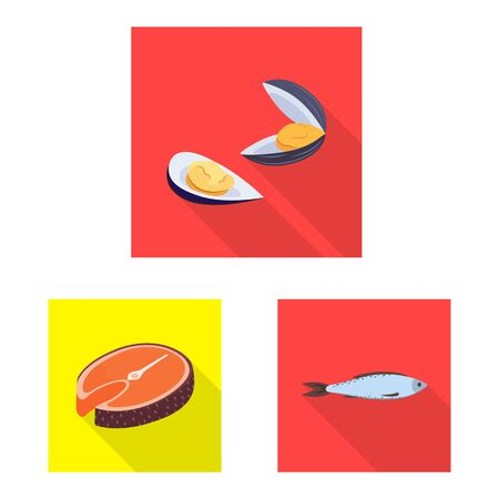 Vector design of product and ocean symbol. Set of product and restaurant stock vector illustration.