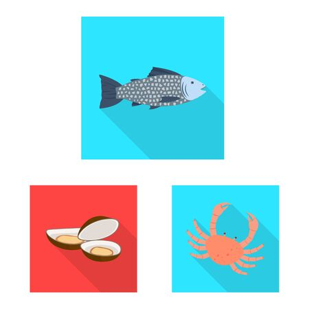 Vector design of product and ocean sign. Collection of product and restaurant stock vector illustration. Illustration