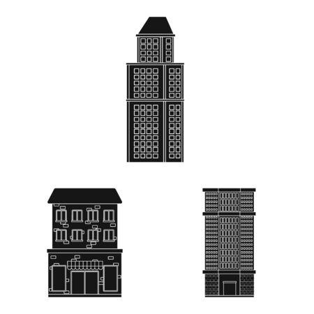 Vector illustration of modern and estate sign. Collection of modern and building stock vector illustration. Çizim