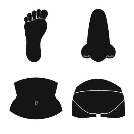 Isolated object of body and part sign. Set of body and anatomy vector icon for stock. Stock Illustratie