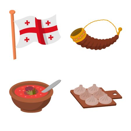 Vector illustration of Caucasus and traditions logo. Collection of Caucasus and attributes stock vector illustration.