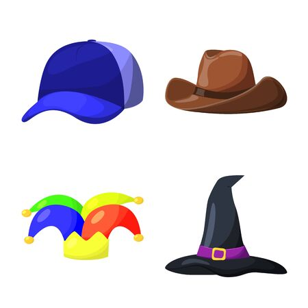 Vector illustration of headgear and napper icon. Set of headgear and helmet stock vector illustration.  イラスト・ベクター素材
