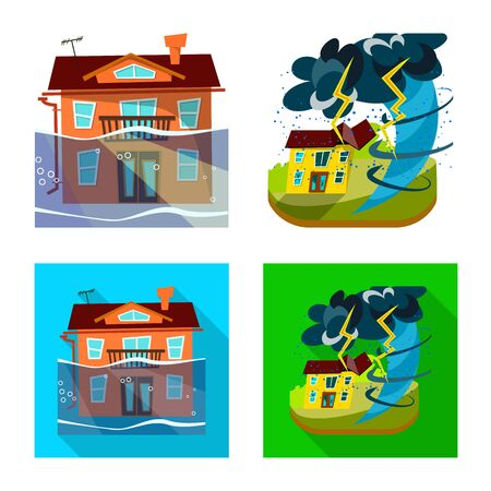 Vector design of weather and distress icon. Collection of weather and crash vector icon for stock. Illustration