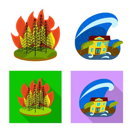 Isolated object of weather and distress icon. Set of weather and crash vector icon for stock. Stock Illustratie