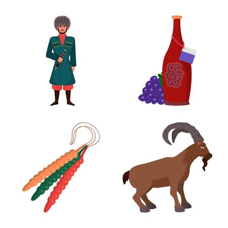 Isolated object of Caucasus and traditions icon. Set of Caucasus and attributes stock symbol for web.