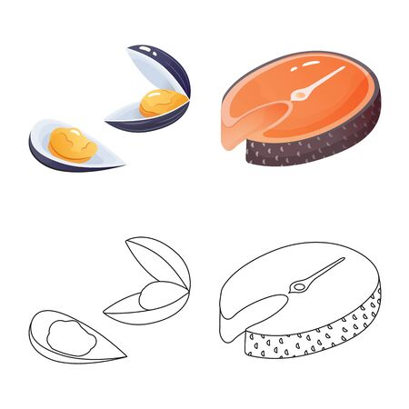 Isolated object of fresh and restaurant symbol. Collection of fresh and marine stock symbol for web. Illustration