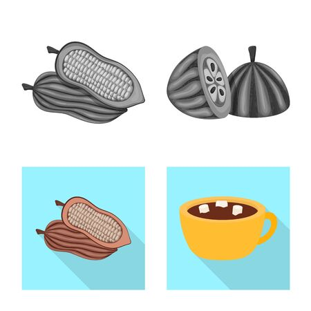 Vector design of food and yummy symbol. Collection of food and brown stock symbol for web. Foto de archivo - 130637105