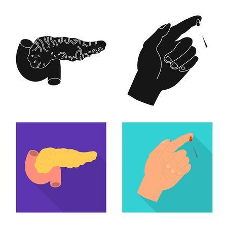 Vector illustration of diet and treatment symbol. Collection of diet and medicine stock symbol for web. Ilustração