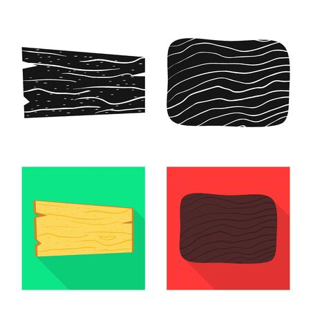 Vector design of raw and forest icon. Set of raw and hardwood stock vector illustration.