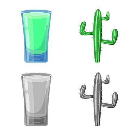 Vector illustration of cafe and Latin symbol. Set of cafe and national vector icon for stock.