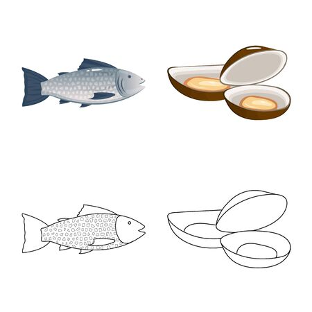 Vector illustration of fresh and restaurant icon. Collection of fresh and marine stock symbol for web.
