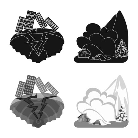 Vector design of weather and distress sign. Collection of weather and crash vector icon for stock.