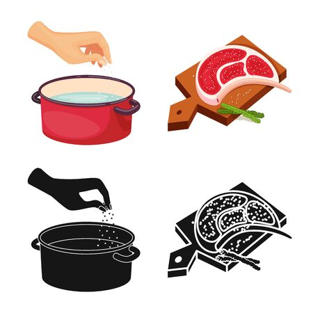 Vector illustration of cooking and sea logo. Set of cooking and baking stock vector illustration.