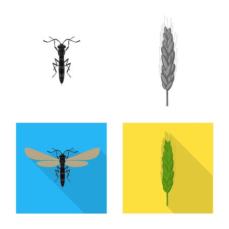 Vector illustration of agriculture and farming sign. Collection of agriculture and plant stock symbol for web.